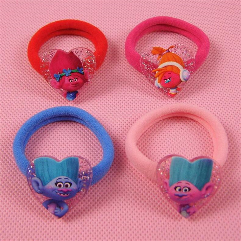 Cute 4 pcs/set Anime Trolls High Elasticity PVC Hair Circle For Girls Lover Best Birthday Gift Action Figure Troll Toys