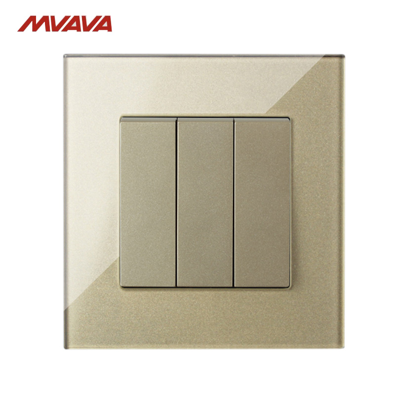 MVAVA 3 Gang 1 Way Wall Light Switch UK/EU Standard Gold Crystal Glass Push Button Control Wall Switches Free Shipping mvava eu standard 3 gang 1 way remote control light switch golden crystal glass panel touch switch wall switch for smart home