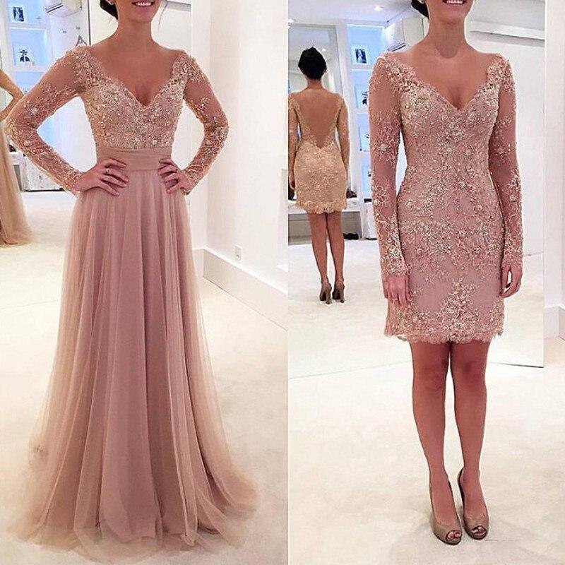 Evening Dress Vestidos De Festa Detachable Skirt Evening Dresses Custom Made Robe De Soiree Long Sleeves