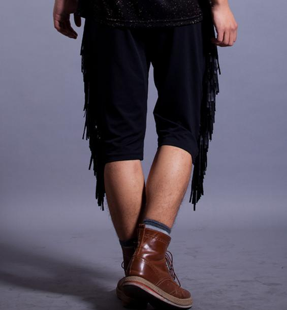 Black loose Show Clothes Personality street mens short pants men hot pants mens 1 baggy pants cargo casual trousers