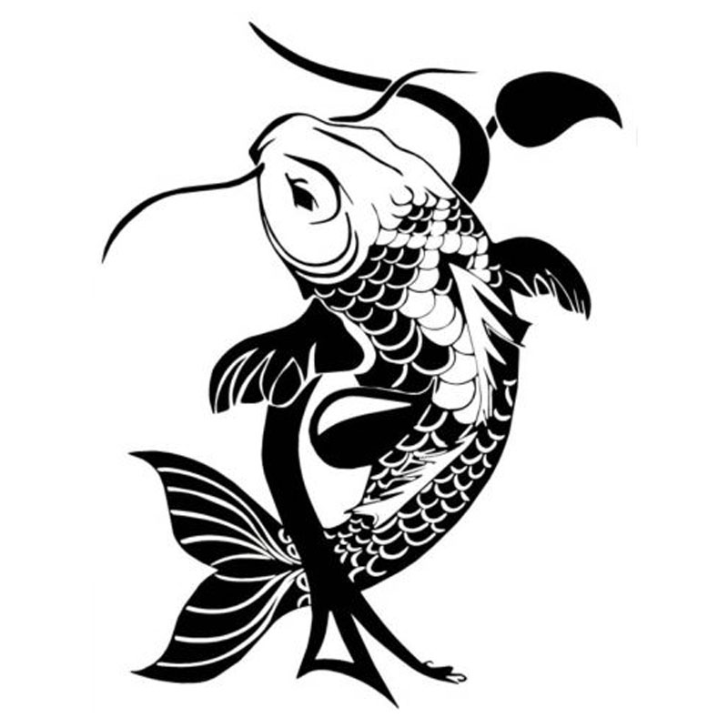 15 3 20 3cm koi fish traditional japanese animal car for Black and white koi fish