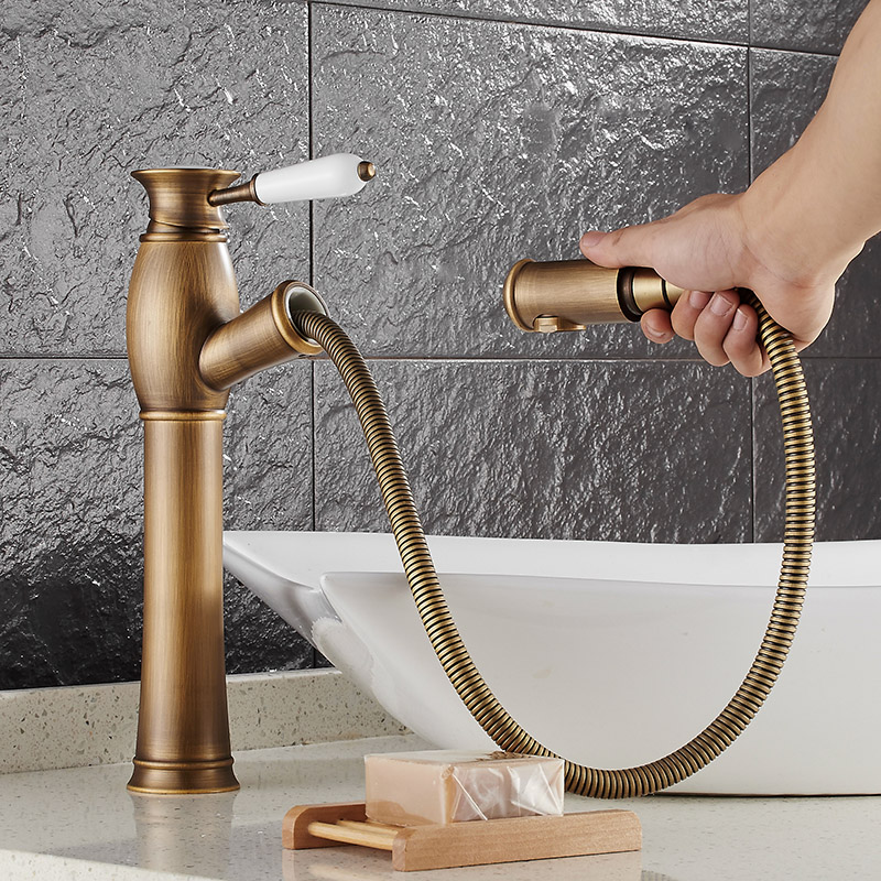 Free Shipping deck mounted Antique brass water faucet Bathroom Basin faucet Mixer Tap Luxury Sink Faucet Pull Out Shower Head free shipping retro antique carved basin faucet bathroom sink faucet luxury basin mixer sink faucet tap brass water tap