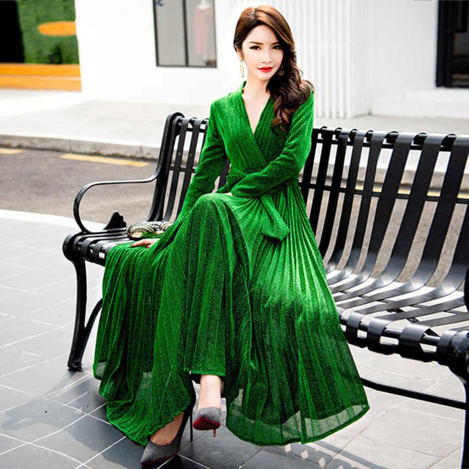 d7ec0909925 Seamyla Новое модное подиумное женское Макси платье с длинным рукавом  Зеленый Золотой синий летнее платье длиной