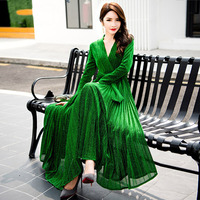 New Fashion Runway Women Maxi Dress 2018 Long Sleeve Green Gold Blue Winter Dress 2018 Floor Length Mesh Evening Party Dresses