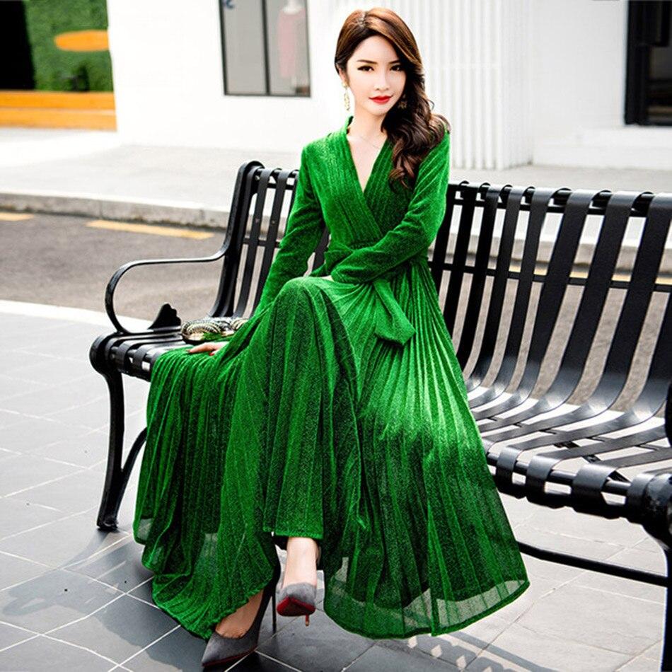 Nouvelle Mode Piste Femmes Maxi Robe 2018 À Manches Longues Vert Or Bleu D'hiver Robe 2018 Étage Longueur Mesh Soirée robes