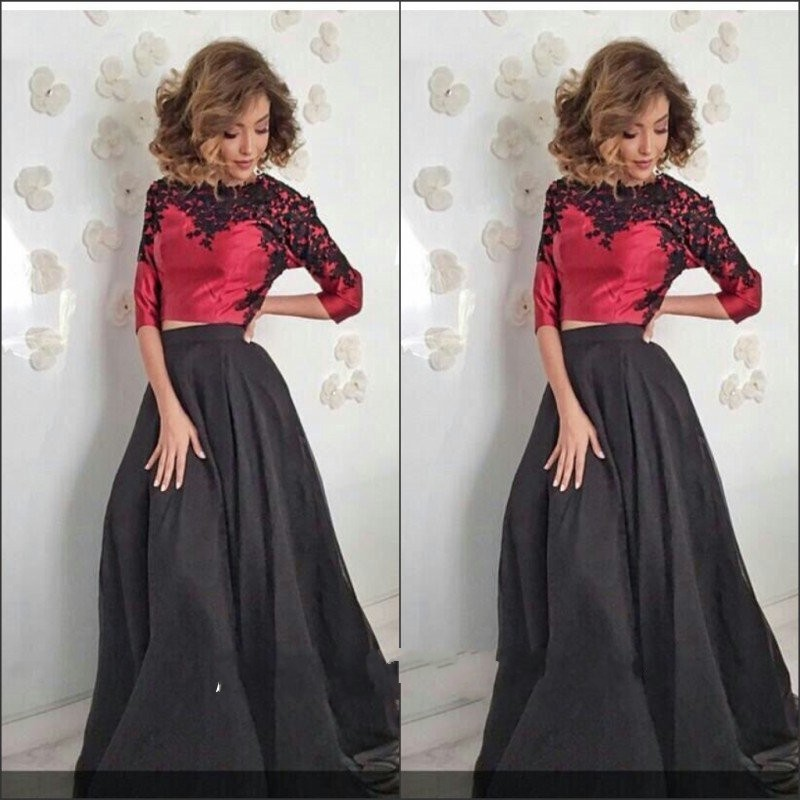 Two Piece A-Line Satin Red Long   Evening     Dresses   2019 Three Quarter Sleeve Scoop Black Applique Sweep Train Formal Prom Gowns