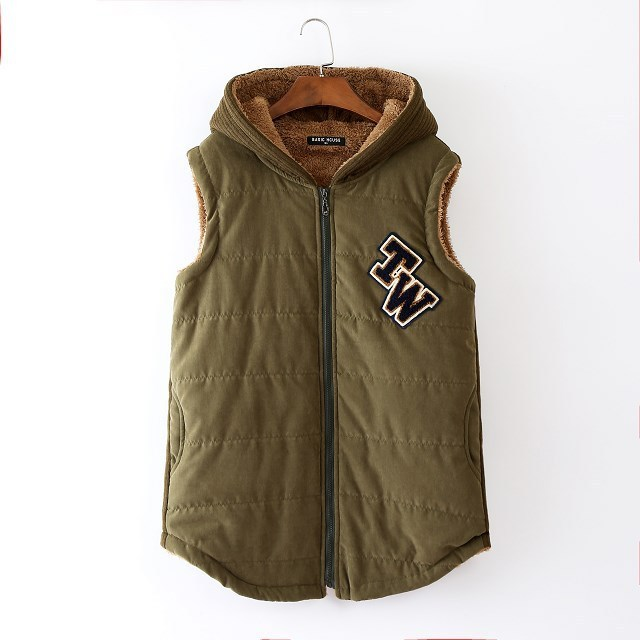 4XL2016 woman army green autumn parkas hooded vest 3xlplussizewomen hooded vest  Sleeveless Jacket  Hooded Down Warm Vest Female