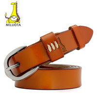 MILUOTA 2016 Genuine Leather Thin Belts For Women Dress Vintage Style Strap Candy Color Woman