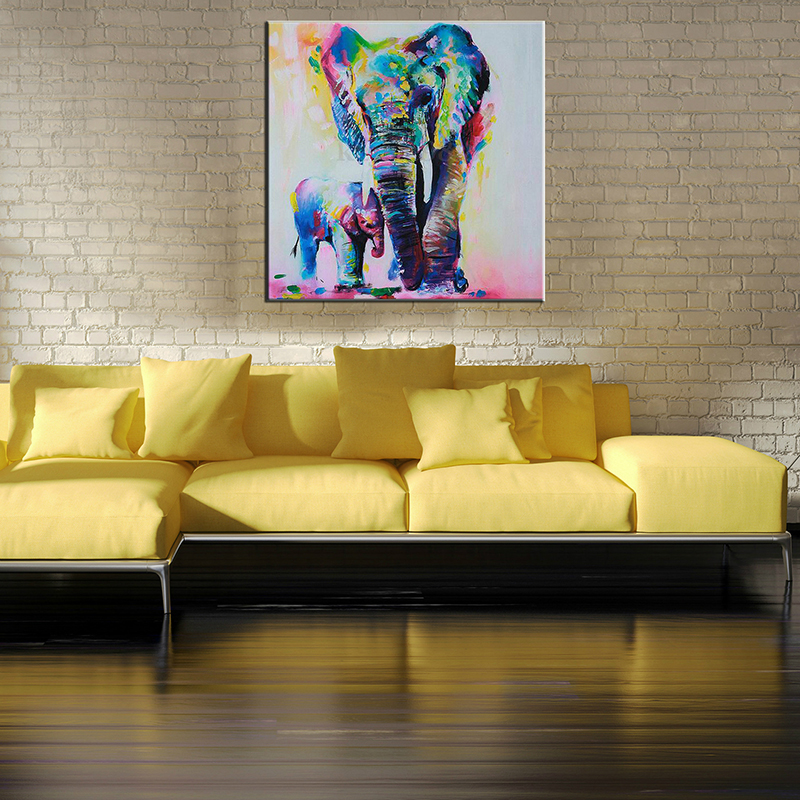 60cm Watercolor Elephant Inkjet Frameless Canvas Art Paintings Oil ...