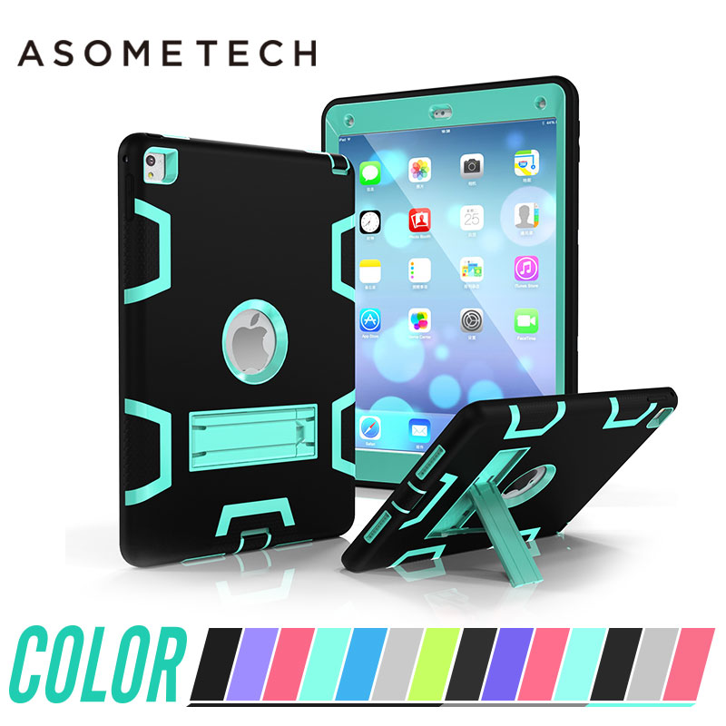 For iPad air 1 2 Non-Slip Kids Safe Hybrid Armor Shockproof Silicone Rubber Solid Case For ipad 5 6 Protection Cover Capa + Film rubber coating hybrid plastic silicone cover for iphone se 5s 5 cyan grey