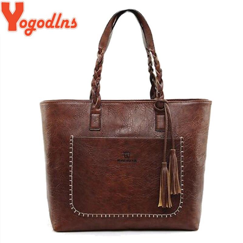 Yogodlns Fashion Women Handbag PU Leather Shoulder Bag Large Capacity Tote Bag Ladies Big Casual Bags Tassel Feminina