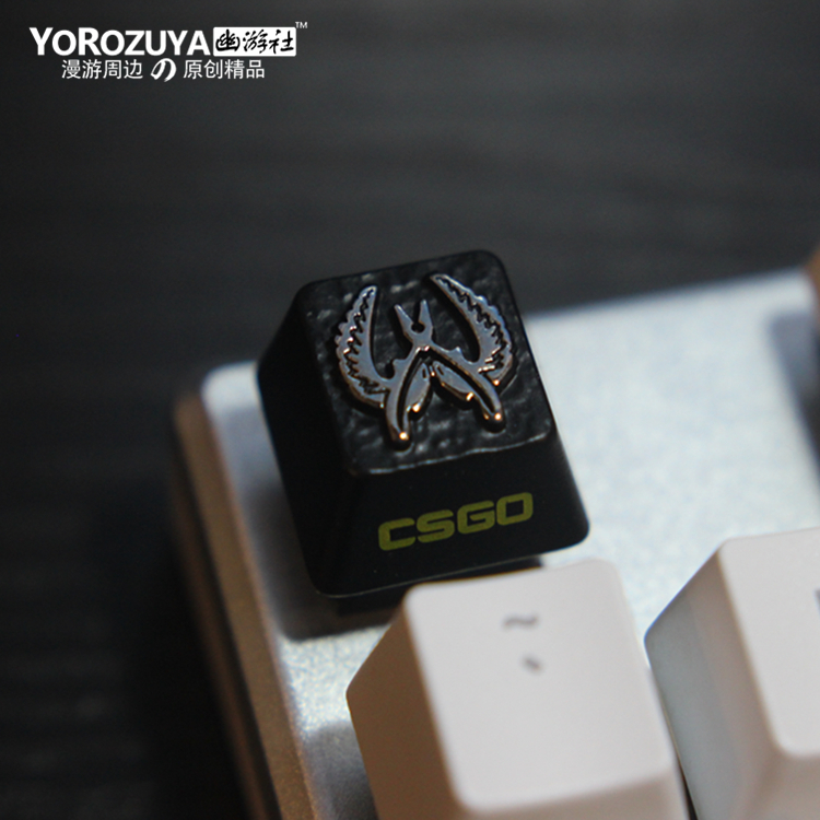 1pc Zinc-plated Aluminum Alloy ZNAL903 Key Cap For CSGO Counter Strike Mechanical Keyboard Stereoscopic Relief Keycap R4 Height