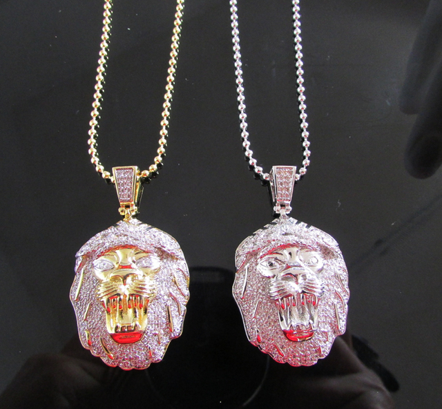 Yellow  White Gold Finish Lab Diamond Lion Head Pendant necklace Moon Cut  Chain Combo Set hip hop man jewelry wholesale 93fe0aecb