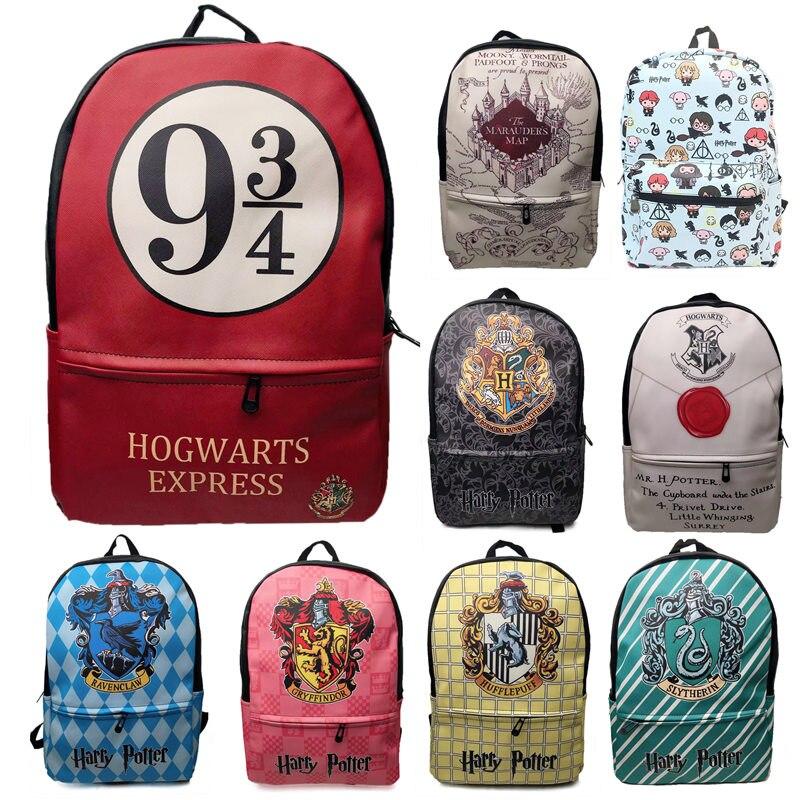 Harri Potter Hogwarts Stempel Brief 9 3/4 Set Schule Schule Taschen Männer PU Leder Rucksäcke Cosplay reisetasche knapsack packsack