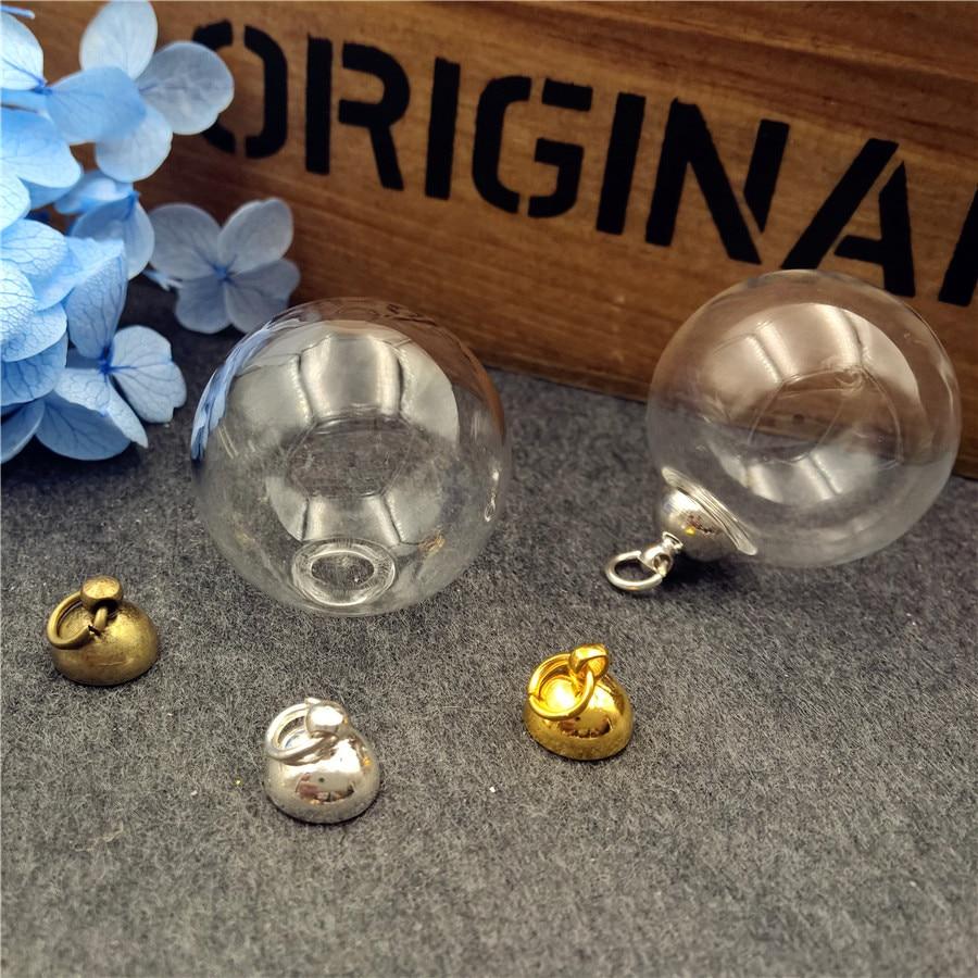 5ddf6bf81fe7 5 conjuntos 25x6mm bola globo de cristal con 8mm tapa conjunto de vidrio  frasco colgante DIY accesorios de joyería colgante de cristal collar