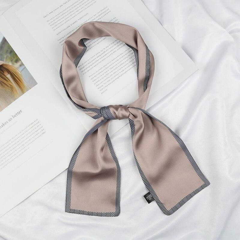 Women Solid Color Bag Decoration Long Neck Tie Headband Narrow Satin Hair Neckerchief Skinny Silk Small Scarf With Twill Hem