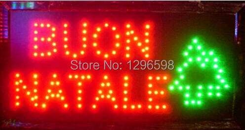 2017 direct selling custom indoor led sign Ultra Bright 15.5X27.5 Inch buon natale Merry Christmas signage