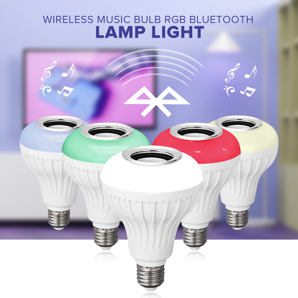 2018 E27 Smart RGB RGBW Wireless Bluetooth Speaker Bulb Music Playing Dimmable LED Bulb Light Lamp with 24 Keys Remote Control 15w e27 led rgb light dimmable bluetooth app control mp3 music bulb color changing smart lamp