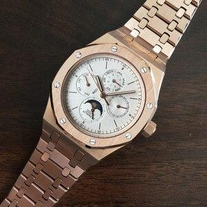 Image 5 - ساعة أوتوماتيكية للرجال ساعة ميكانيكية فاخرة ماركة فاخرة ذكر القمر المرحلة الغوص التقويم ساعة اليد مقاوم للماء