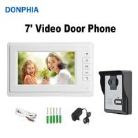 Video Door Phone Intercom 7 LCD Full Color Doorbell Intercom Kit 1 Camera 1 Monitor Waterproof