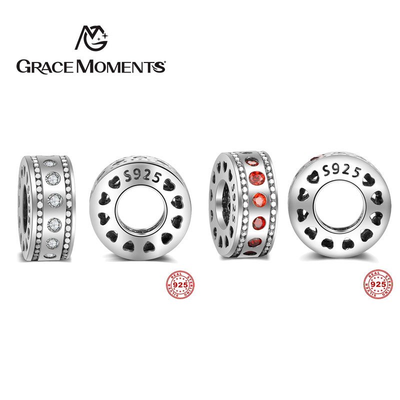 GRACE MOMENTS New Gift Charms Fit Original Bracelet Necklace Pure 925 Sterling Silver Inspiration Within Spacer, Red CZ Beads