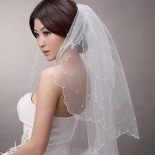 simple cheap white ivory wedding veil beads edge velos de novia 1.5 meters veil bridal accesories wedding dress bridal veil