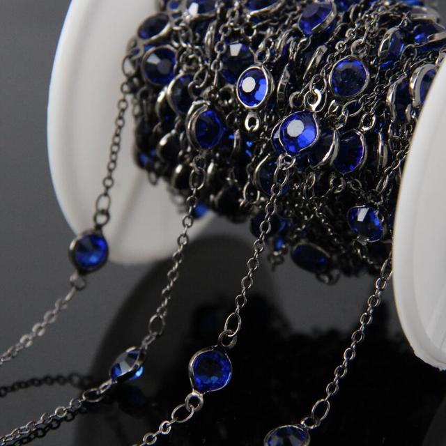 6mm size,Blue Glass Flat Coin Chains,Wire Wrapped Plated Gun black Faceted Round Glass beads Chains necklace bracelet