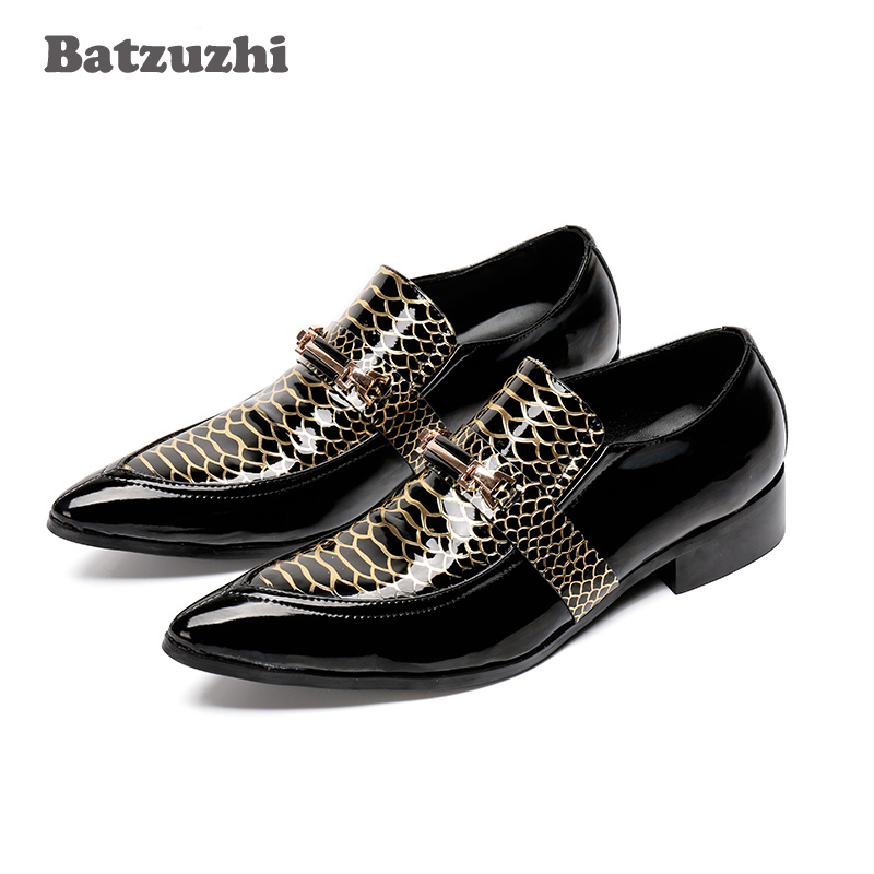 Batzuzhi Brand Genuine Leather Men Oxfords Shoes Pointed Toe Men Dress Shoes Fashion Men's Flats Zapatos Hombre, Big Size 46 men genuine leather shoes top brand new fashion casual loafers soft and comfortable oxfords crocodile skin flats zapatos hombre
