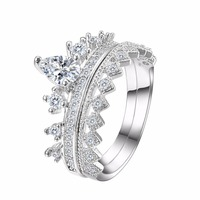 Bella Fashion Bling Crown Bridal Ring Set Cubic Zircon Combination Ring For Engagement Wedding Party Jewelry