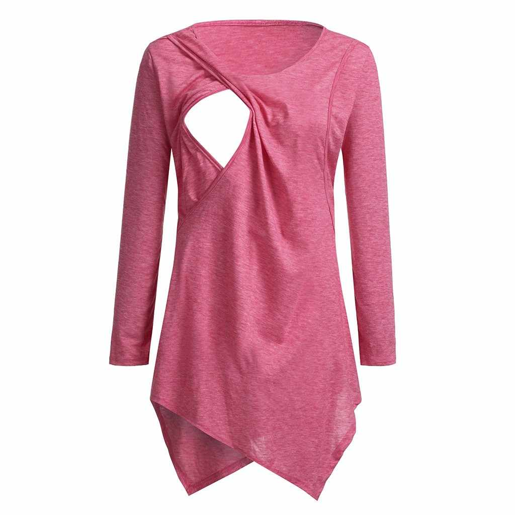 التمريض أعلى المرأة طويلة الأكمام الرضاعة الطبيعية تي شيرت الشتاء زر تونك أنيقة الحوامل ملابس حمل embarazada المحملة