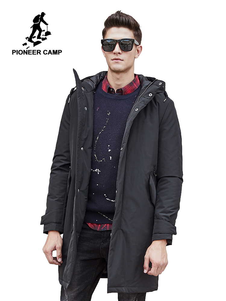 Pioneer Camp Lengthy Heat Winter Jacket Males Waterproof Model Clothes Male Cotton Autumn Coat High quality Black Down Parkas Males 611801
