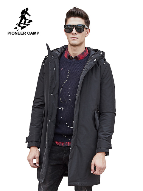 Cheap Pioneer Camp long warm winter Jacket men waterproof brand clothing male cotton autumn coat quality black down Parkas men 611801