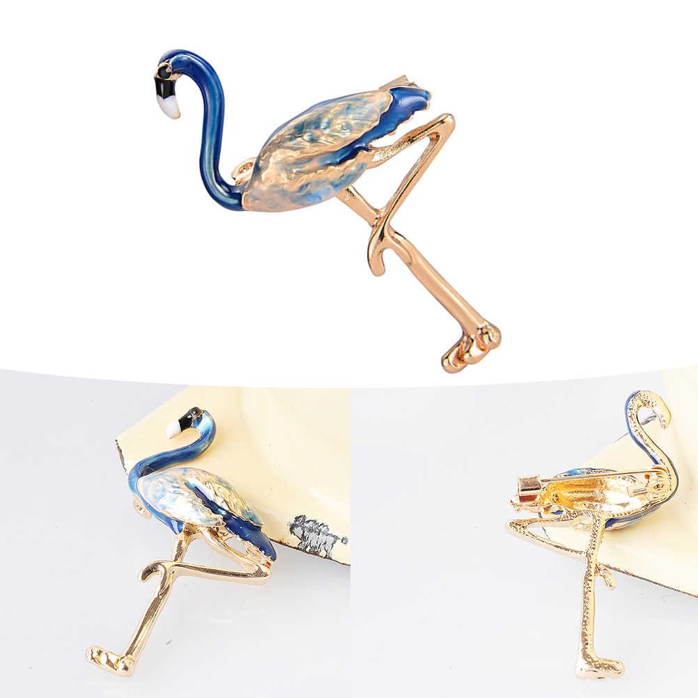 Delicate Enamel Flamingo Bros Pin Bros untuk Wanita Fahsion-Biru