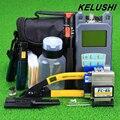 KELUSHI 20 em 1 Kit de Fibra Óptica FTTH Ferramenta com FC-6S Fiber Cleaver, Medidor De Potência óptica, 10 km Localizador Visual de Falhas Wire stripper