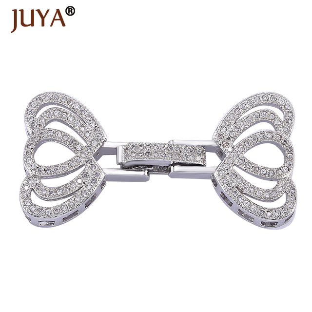 Luxury Cubic Zirconia Rhinestone Fold Over Clasp DIY Pearls Bracelet Necklace  Jewelry Clasps Accessories Findings Components 2655128dd175