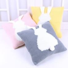 Baby Pillow Knit Cushion 3D Rabbit Cute Newborn Sleep Appease Toys Knitted Car Sofa Decorative Cushions 35x35cm Decoration Room knitted cushions