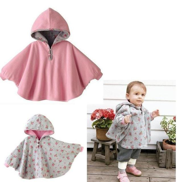 Nuevo 2016 smocks combi bebé abrigos niños de la muchacha de la manera outwear fleece jumpers manto niños clothing del poncho del cabo