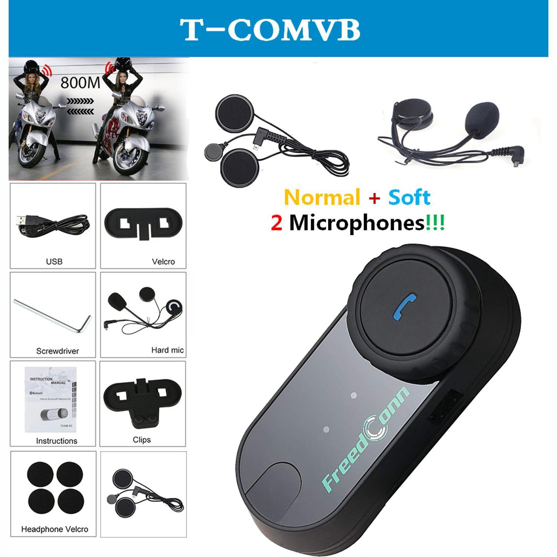 QPLOVE FreedConn T-comvb Bluetooth Motorcycle Intercom Helmet Microphone And Interphone Tool With FM Send Soft Earphone Speaker