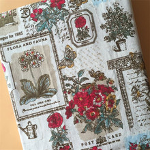 Cotton Linen Patchwork Fabric Floral Printed Canvas Material Sewing Handmade Quilting Manual Crafts