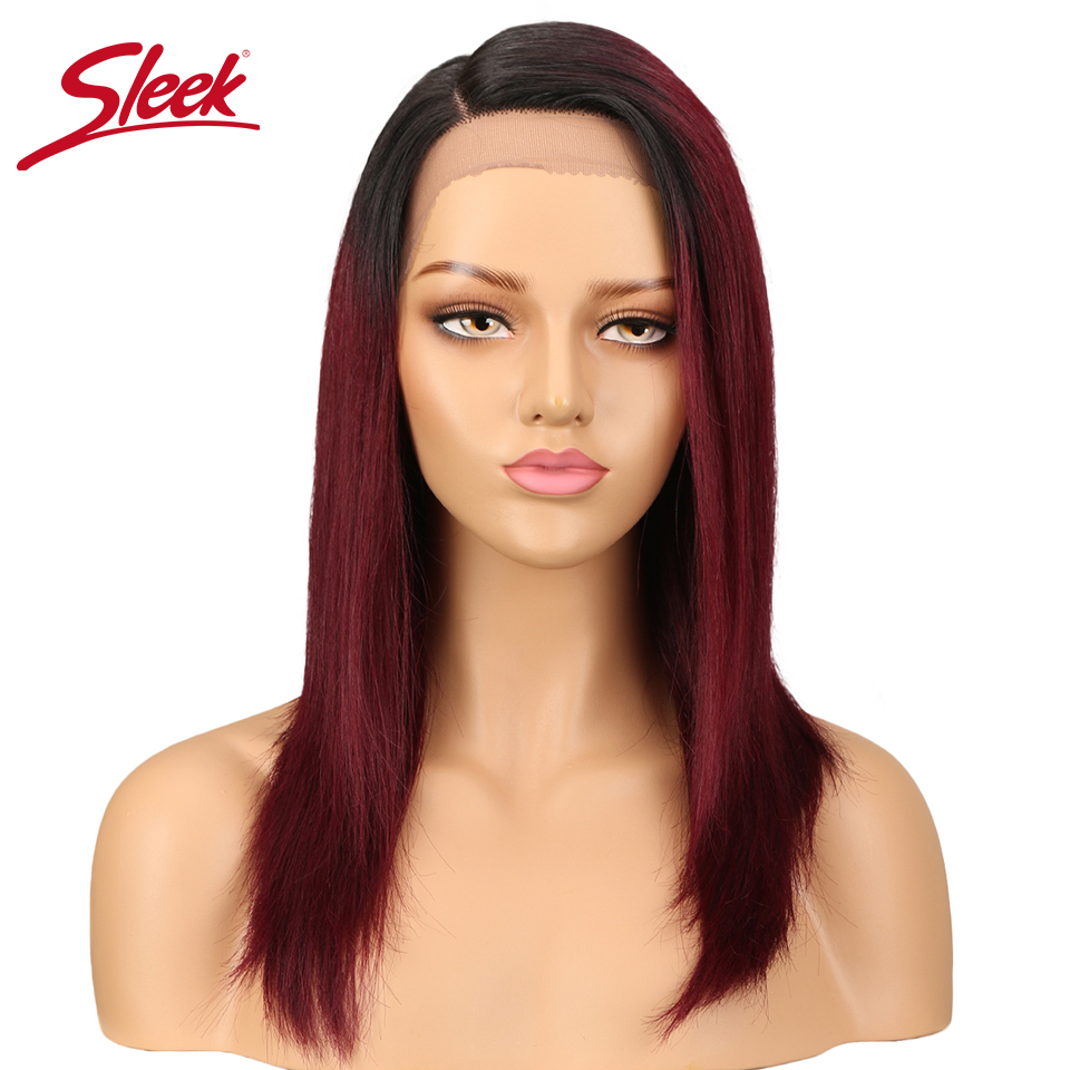 Sleek Human Hair Lace Wigs For Black Women Brazilian Remy Straight Hair Wig Blonde Brown Blue 99J Colors Free Shipping