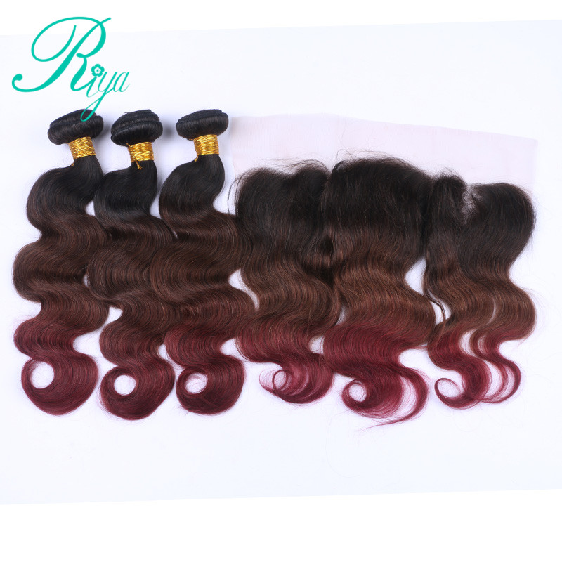Riya Hair 1b/4/99j Ombre Body Wave Hair 3/4 Bundles With 13* 4 Lace Frontal Brazilian Human Hair Extension Pack With Closure