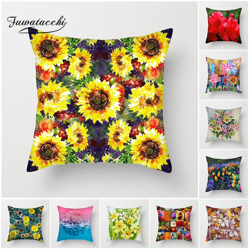 Fuwatacchi Oil Painting Daisy Cushion Cover Lily Tulip Sunflower Pillow for Home Chair Sofa Flowers Decorative Pillows
