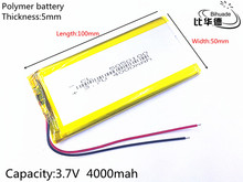 1pcs/lot 3.7V 4000mAh 5050100 Lithium Polymer LiPo Rechargeable Battery ion cells For Mp3 Mp4 Mp5 DIY PAD DVD