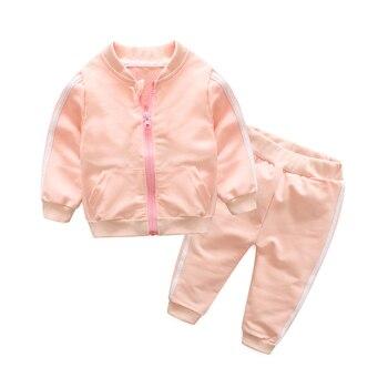571a1e6c5 Tem Doger moda Primavera otoño bebé niñas algodón bolsillo deporte conjunto  chaqueta + Pantalones 2 unids