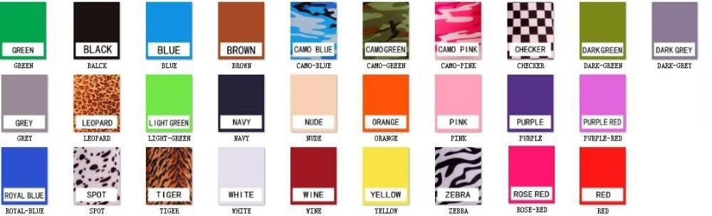 lycra cotton  body suit color chart