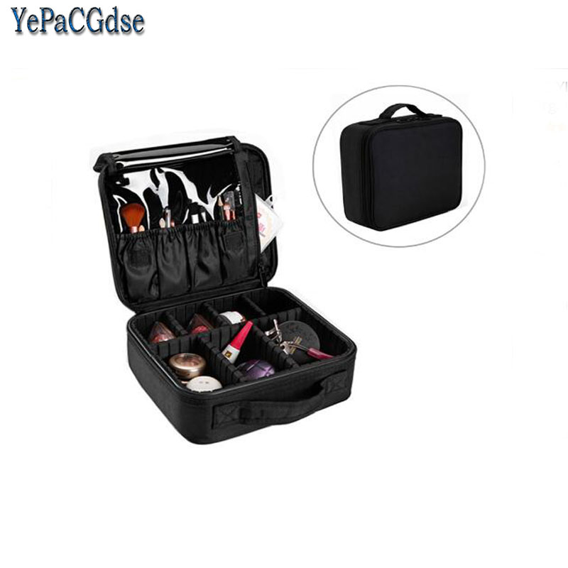 Multilayer Detachable  Waterproof Oxford Makeup Organizer Storage Box Beautician Cosmetic Suitcase Holder