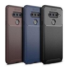 For LG V40 Case Luxury Carbon Fiber Silicone Phone Bag Business Matte Back Cover Shockproof Full Protection