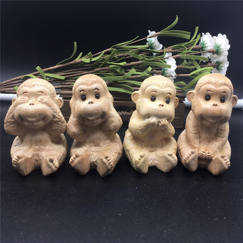 Fengshui Four Monkeys Don't See, Don't Talk, Don't Move, Monkeys,Wooden Wood Carvings