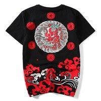 Japanese Kanji Monster Print Hip Hop T Shirt Funny Cotton Casual Summer Tops Streetwear Harajuku Mens Tee Shirts Short Sleeve