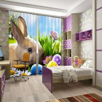 Cute Rabbit 3D Blackout Curtains For Living Room Bedding Room Kids Adults Gifts Drapes Cotinas Para